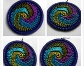 Diva Swirl Crochet Hoop Earrings (Dark Blue Lining)