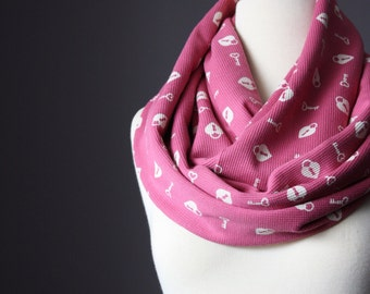 Heart scarf - Infinity Heart Scarf - Pink heart scarf  - Valentines infinity scarf - hearts scarves
