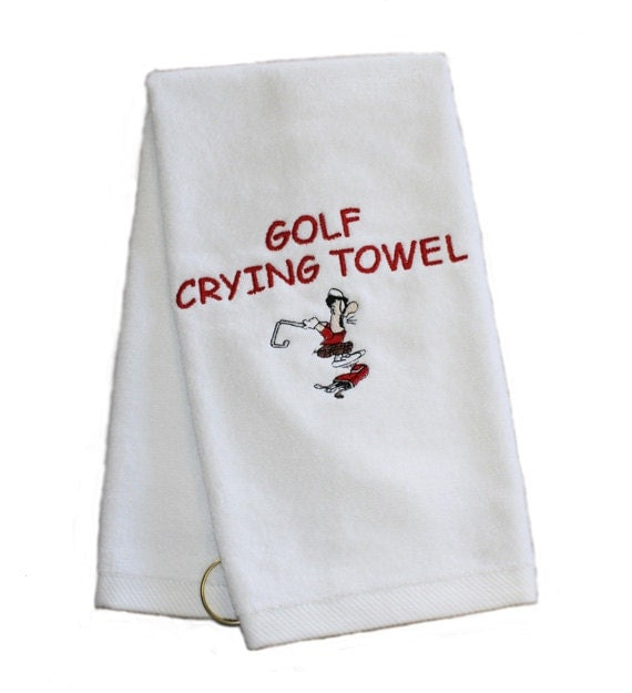 Golf Crying Towel. Embroidered Golf Towel Corner By