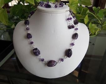 Purple Amethyst Necklace Set