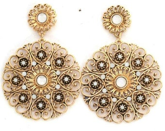 Filigree Earrings Flowery Hearts Moonstones