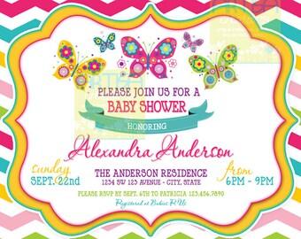 Chevron Butterfly Baby Shower Invitation - Chevron butterflies baby shower Invitation - Butterflies Invitation - Chevron butterflies Invite