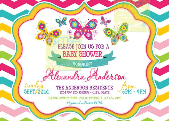 chevron butterfly water bottle labels chevron butterflies, Baby shower invitations