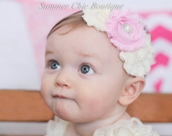 Baby Headband, Infant Headband, newborn Headband, Toddler Headband, Shabby Chic Headband Ivory and Light Pink Headband