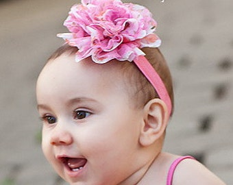 CLEARANCE Baby Headband, Infant Headband, Toddler Headband, Pink Headband, Headband, Floral Print  Frayed Chiffon and Lace Flower Headband