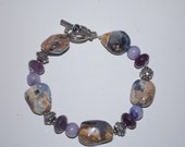 Bracelet with Purple Jade, Amethyst, Silver and Lavender Chalcedony