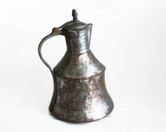 Vintage copper milk jug antique primitive hammered Turkish pitcher. ORDU, Black Sea. Old milkmen vessel. Oriental home decor farmhouse barn