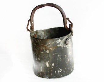 Bucket heavy solid COPPER antique primitive pail pot WROUGHT iron handle HAMMERED dovetail seam Farmhouse barn rustic houseware, home decor