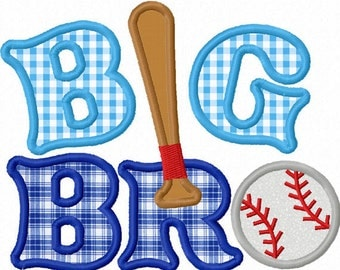 Instant Download Big Brother With Baseball  Applique Machine Embroidery Design NO:1289