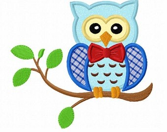 Instant Download Boy Owl On Branch Applique Machine Embroidery Design NO:1331