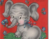 Vintage Unused Birthday Card Children's Theme Ring Toss Grey Elephant Boys Girls Birthday