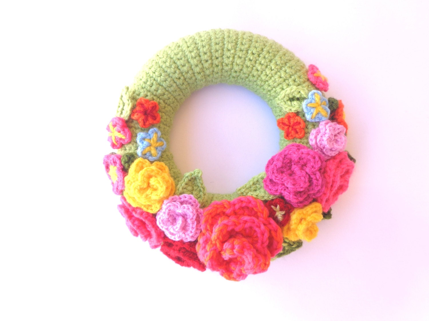 Crochet door wreath colorful with flowers spring by ...
