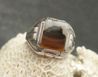 Vintage Sterling Deco Ring Agate H431