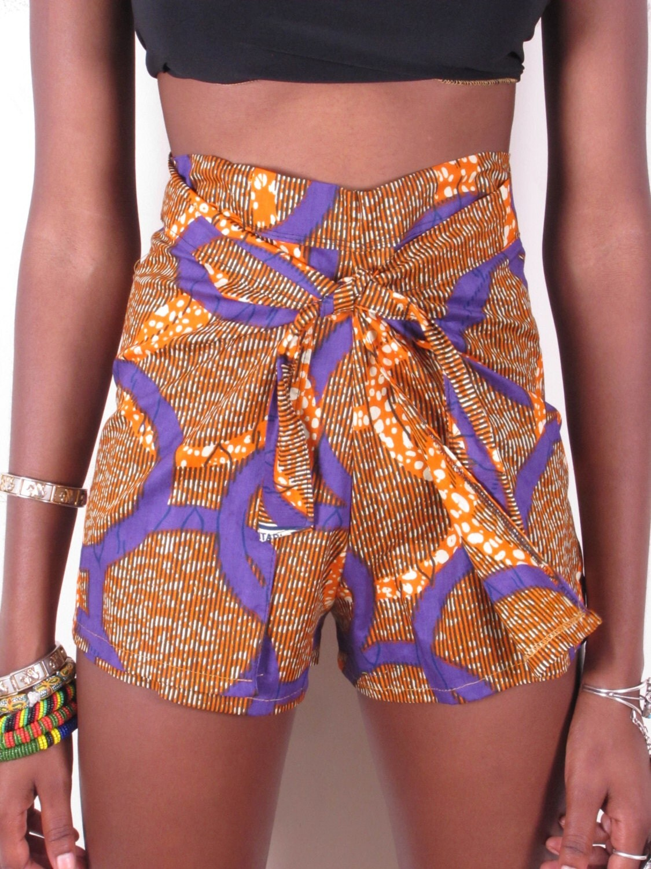 Bold Bright African Ankara Wax Print Wrap High Waist Shorts