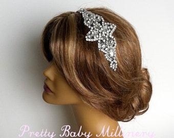 Art Deco Bridal Headpiece,Black bridal headband,1920s Flapper Crystal Headband rhinestone hair accessories head piece headpiece BLK DIAM