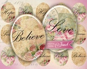 Hope, Peace, Love, Dream - oval image - 30 x 40 mm or 18 x 25 mm - digital collage sheet  - Printable Download