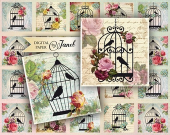 Sweet Song - squares image - digital collage sheet - 1 x 1 and 2 x 2 inch - Printable Download