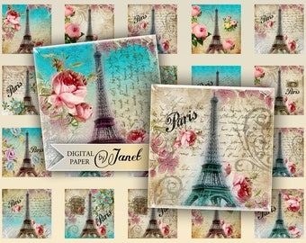 Paris and Roses - squares image - digital collage sheet - 1 x 1 inch - Printable Download