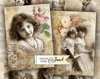 Lovely Tags - digital collage sheet - set of 6 - Printable Download