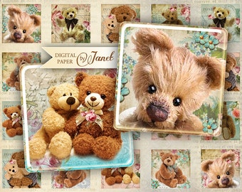 Teddy Bears - squares image - digital collage sheet - 1 x 1 inch - Printable Download