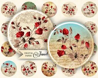 Wild Rose - circles image - digital collage sheet - 1 x 1 inch - Printable Download