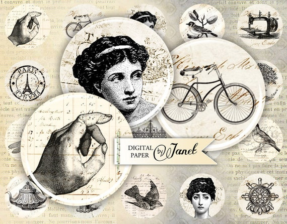 Old French - circles image - digital collage sheet - 1 x 1 inch - Printable Download