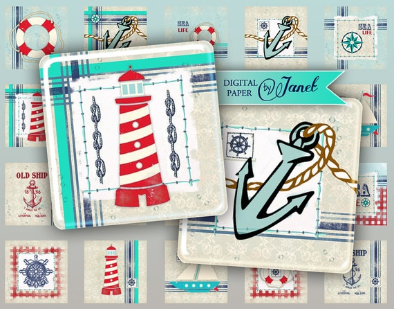 SEA Life - squares image - digital collage sheet - 1 x 1 inch - Printable Download