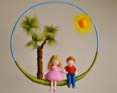 Children mobile Waldorf inspired needle felted nursery decoration: Girl  and boy