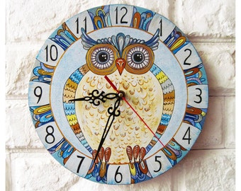 Blue Owl Wall Clock, White wall clock, natural wood, wooden clock, kids gift