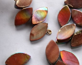 16mm Golden Brown AB Mother Of Pearl Drop Beads