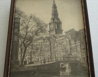 Vintage Framed Amsterdam Print by Johannes Josseaud