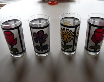 Vintage,retro,Flower Decorated Drinking Glasses