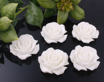 50%off 8pcs-30mm Large Detaied Leaves Rose Resin Cabochons -White(J106F)