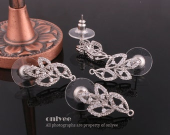 1pair/2pcs-21mmX12mmRhodium plated Brass with CZ Cubic Zirconia Elegance post earrings (K394S)