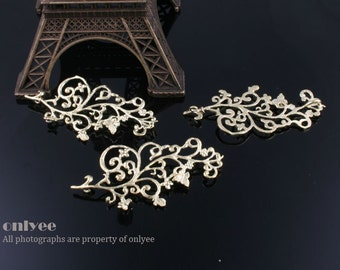 10pcs-22mmX45mm 14K Gold plated over Brass whimsical flower branch with butterfly connectors(K414G)