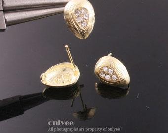 1pair/2pcs-13mmX10mmGold plated Brass Zircon Earrings Shapely Stone Hook Ear post(K490G)