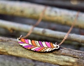 Purple Wood native pendant - feather (laser cut)