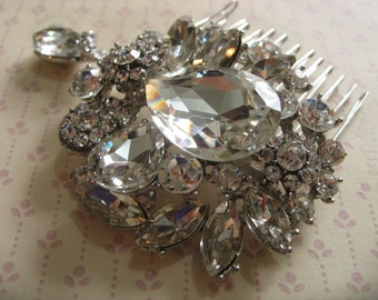 Vintage glamours Swarovski rhinestone crystals wedding bridal bride bridesmaids flower girls hair comb, wedding accessory, bridal comb