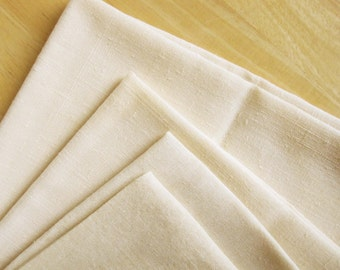 "Two 16"" and Two 18"" Cream Linen Table Napkins - Plain - Luncheon Size - Nice Machine Stitched Edges - Mix and Match"