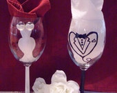 Wine Glasses....AVANT GARDE....Hand Painted....Specialty Glasses