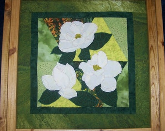 MAGNOLIA Applique Art Quilt PDF E-Pattern NOW with Step-by-Step Digital Picture Instructions