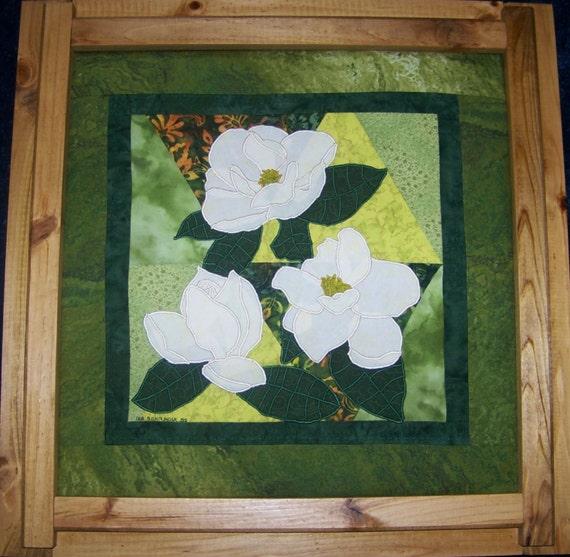 MAGNOLIA Applique Art Quilt PDF E-Pattern NOW with : magnolia quilt pattern - Adamdwight.com