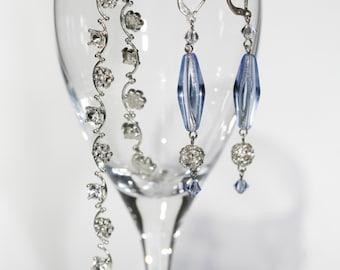 SALE Swarovski crystal earring, Valentines gift, sterling silver earrings, something blue earrings, rhinestone bracelet, jewelry set bridal,