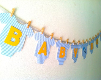 "Baby One-Piece Bodysuit ""BABY BOY"" Baby Shower Banner: Blue and Yellow Baby Shower Decoration"