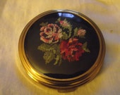 vintage gilt compact with embroidery design