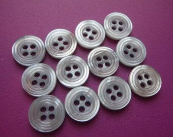 100 Silver Grey Buttons 11mm Plastic