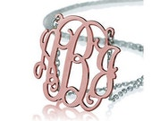 Monogram necklace - 1.25 inch Monogram - 925 Sterling silver 18k ROSE Gold Plated with a Silver Chain