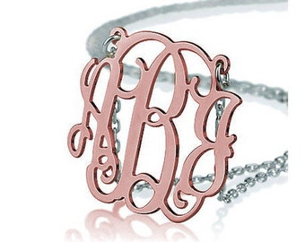 Monogram necklace - 1.5 inch Monogram - 925 Sterling silver 18k ROSE Gold Plated with a Silver Chain