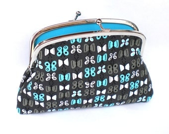 Grey Butterfly Coin purse with kiss clasp, divider and 2 compartments- turquoise interior