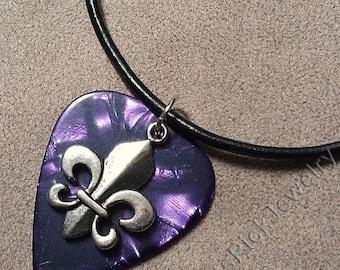 Fleur de Lis on Genuine Purple Pearl Guitar Pick Necklace